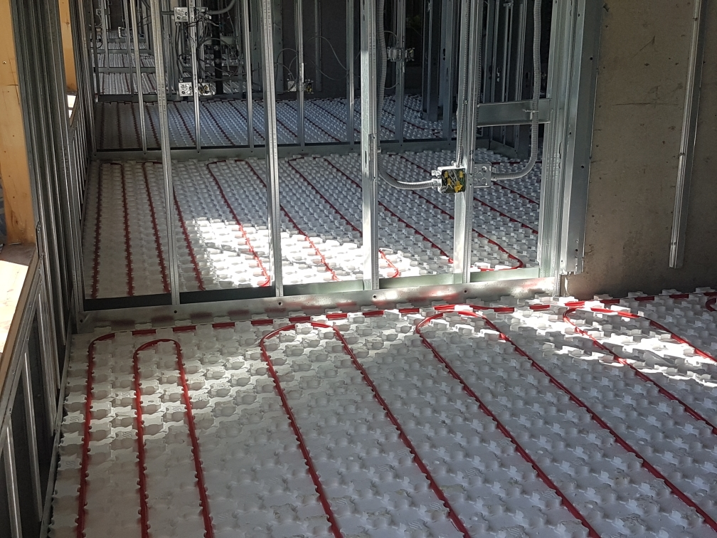 Piping and Heat-Sheet Panels in a Suite