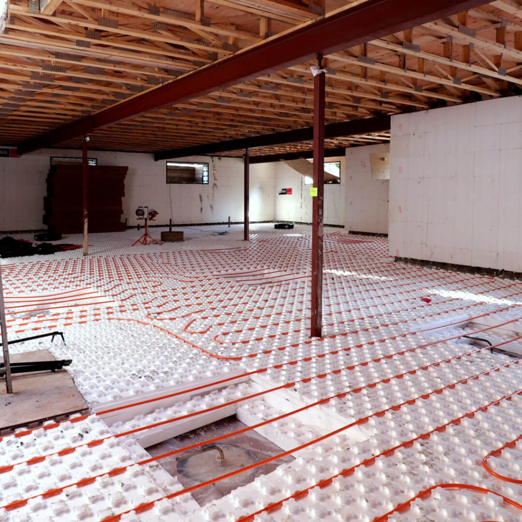 Heat-Sheet Panels With Pex Tubing Laid Out